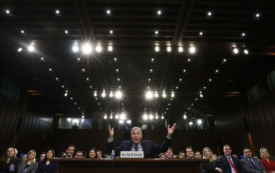 Supreme Court nominee Neil Gorsuch speaks on Capitol Hill during his confirmation hearings. Democrats may use every available procedural tool to try to block the confir mation. Photo: Pablo Martinez Monsivais, Associated Press