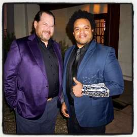 Salesforce founder-CEO Marc Benioff (left) with musician Eric Lewis (aka Elew) in The Presidio. March 23, 2017.