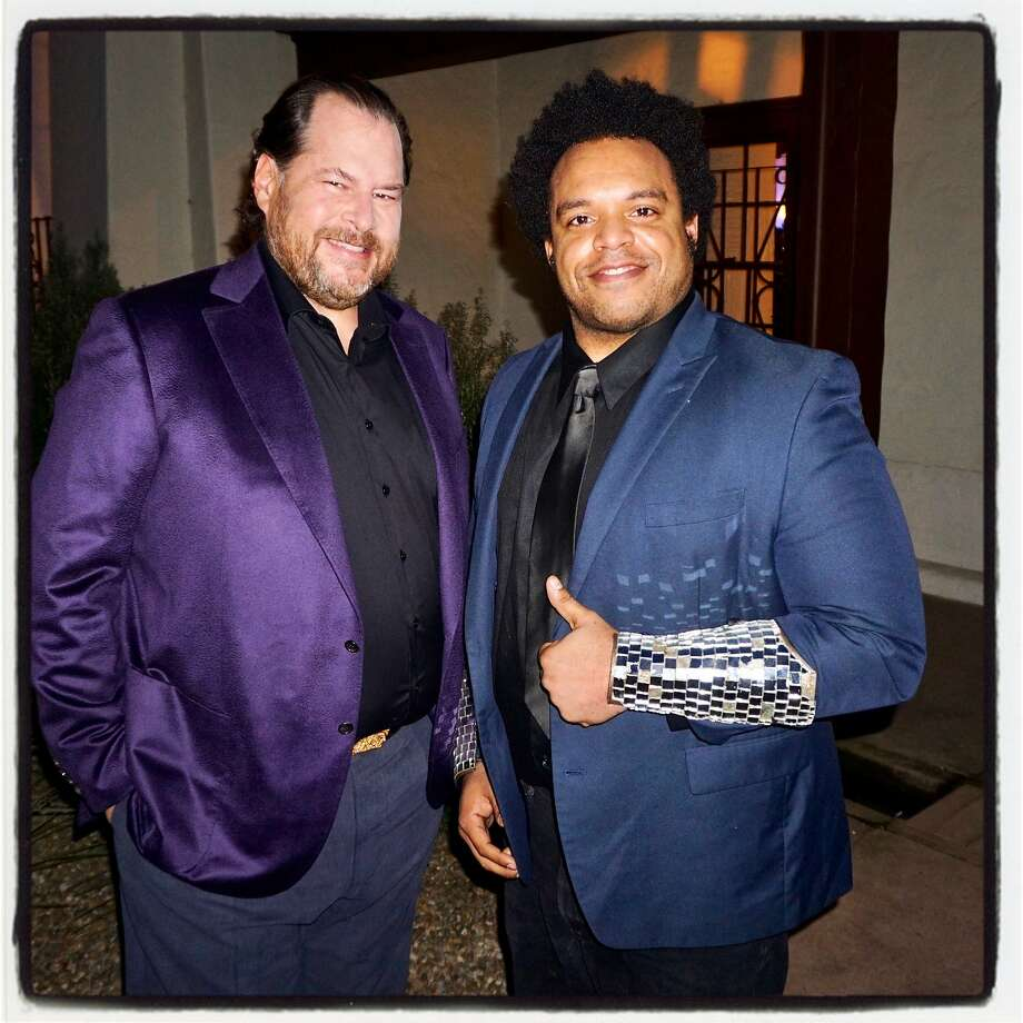 Salesforce founder-CEO Marc Benioff (left) with musician Eric Lewis (a.k.a. Elew) in the Presidio March 23, 2017. Photo: Catherine Bigelow, Special To The Chronicle