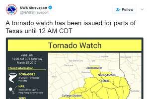 A tornado watch is in effect until midnight on March 3, 2017 for Harris County and other Texas counties, according to the National Weather Service