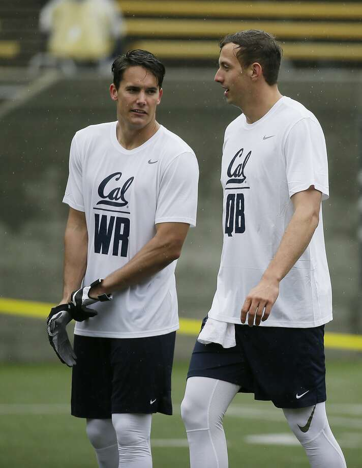 California wide receiver Chad Hansen, left, talks with quarterback Davis Webb, right, during NFL football pro day Friday, March 24, 2017, in Berkeley, Calif. (AP Photo/Eric Risberg) Photo: Eric Risberg, Associated Press