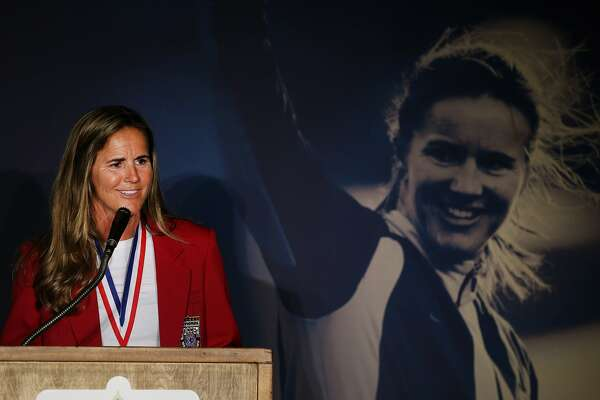 Brandi Chastain is inducted during the National Soccer Hall of Fame Class of 2016 at Avaya Stadium on Friday, March 24, 2017, in San Jose, Calif.