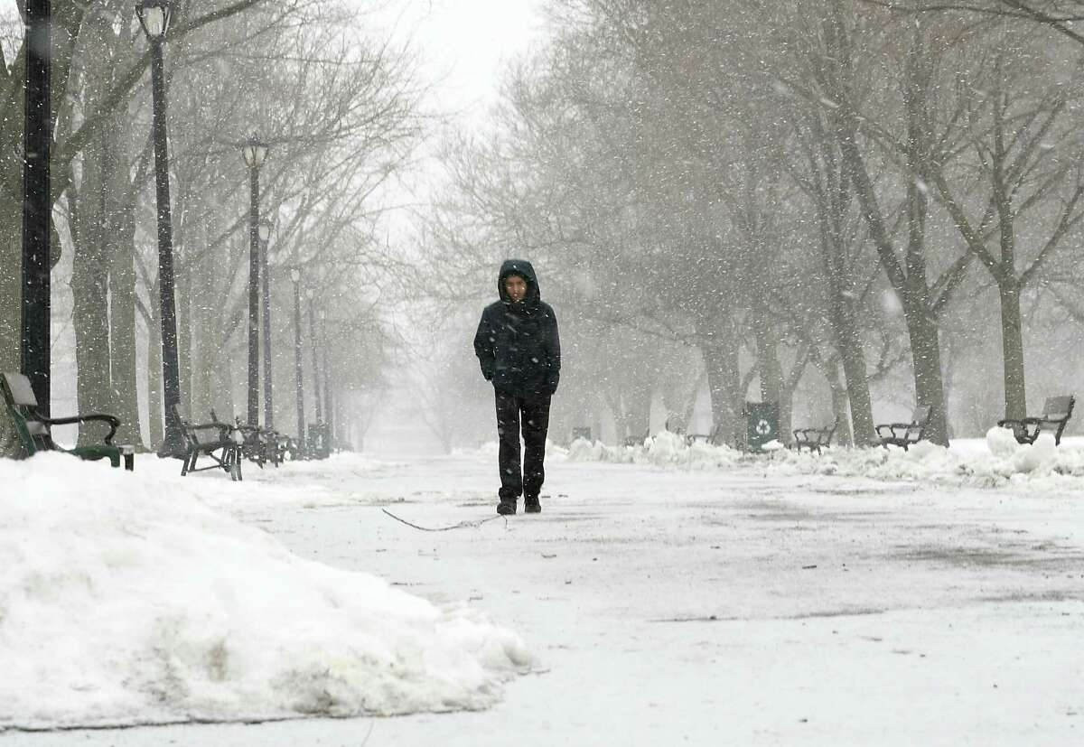 Bhim Bhandari of Albany walks through Washington Park as snow falls on Friday, March 24, 2017 in Albany, N.Y. ( Lori Van Buren / Times Union)