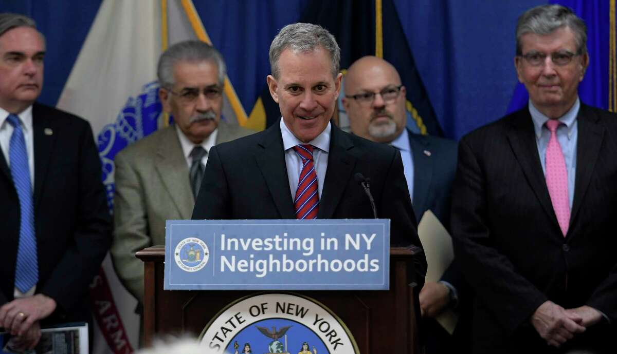Attorney General Eric Schneiderman the granting of $20 million in grants to 19 land banks that use the funds to rebuild neighborhoods across the State Friday March 24, 2017 in Albany, N.Y. (Skip Dickstein/Times Union)