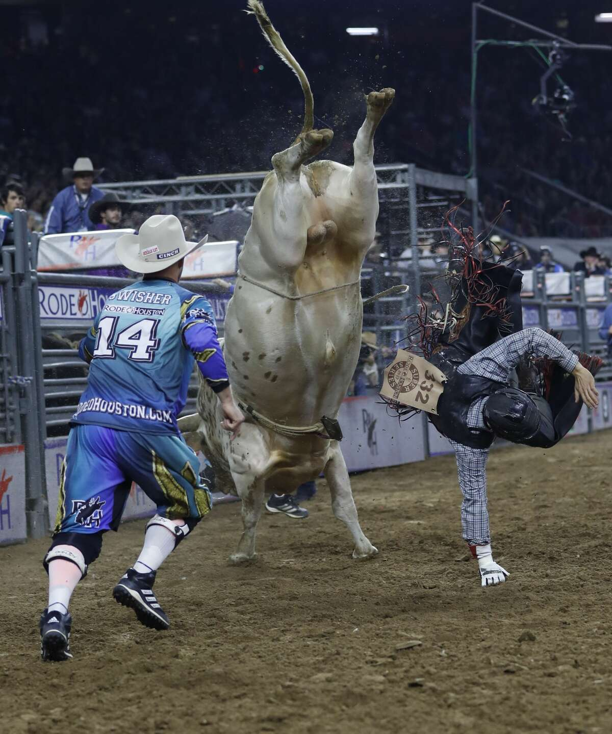 Eli Vastbinder gets tossed off of Jasper during the bull riding, wild card competition at the Houston Livestock Show and Rodeo at NRG Park, Friday, March 24, 2017, in Houston. ( Karen Warren / Houston Chronicle )