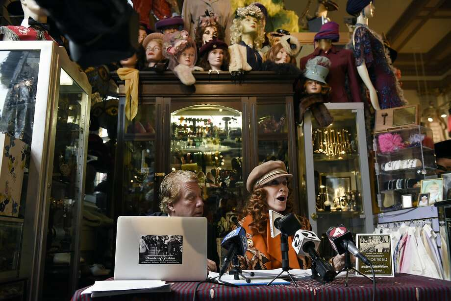 Attorney Sanford Troy and Decades of Fashion owner Cicely Ann Hansen discuss charges that Hansen is selling clothing made from the pelts of endangered species in her Haight Street store. Photo: Michael Short, Special To The Chronicle