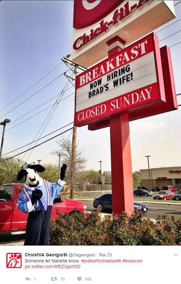 A Chick-Fil-A in Amarillo Texas has gotten in on #JusticeforBradswife, offering to hire her after she was inexplicably fired from a Cracker Barrel in Indiana. Photo: Twitter