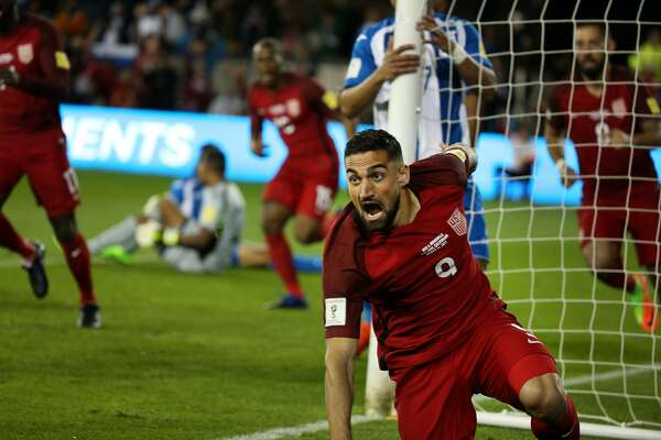 USA midfielder Sebastian Lletget (9) reacts as he scores the first goal during the first half of a CONCACAF Gold Cup Group stage soccer match at Avaya Stadium on Friday, March 24, 2017, in San Jose, Calif. U.S.A leads 3-0 at half time.