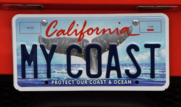A California license plate with a redesigned illustration of a whale tail was unveiled in San Francisco, Calif. on Tuesday, August 2, 2011. The new design was created by painter Elizabeth Tyndall and graphic designer Bill Atkins.