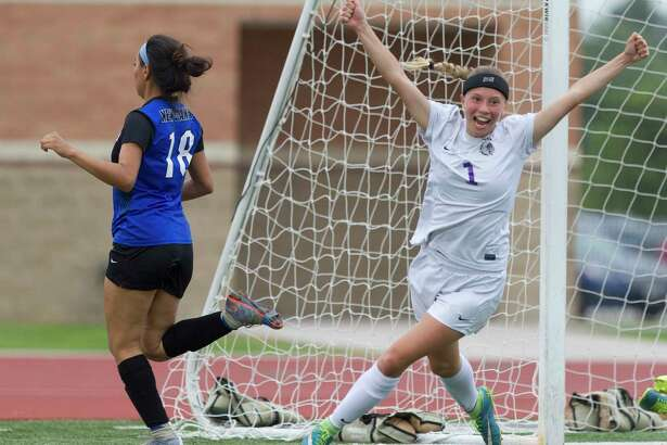 Port Neches-Groves forward Jillian Flores (1) celebrates after scoring a goal during the first period of a Region III-5A b-district high school girls soccer playoff match at Turner Stadium Friday, March 24, 2017, in Humble. Flores scored two goals inPNG's 5-0 win over New Caney.