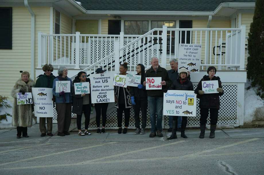 New Fairfield residents gather in protest against the town's proposal to use herbicides in Candlewood Lake. Photo: /