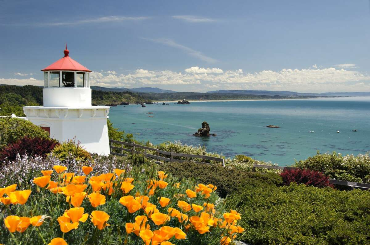 Trinidad's lighthouse has required relocation since this file photo was taken. The ground beneath it was shifting. Still, the sweeping views of the Pacific from this small town make it an essential destination on a trip to Humboldt County.