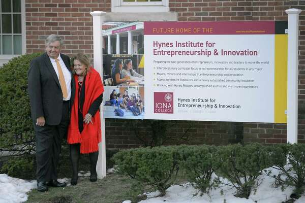 James and Anne Marie Hynes of Greenwich are photograph in front of Spellman Hall, the future home of the Hynes Institute at Iona College in New Rochelle, NY on March 21, 2017.  James Hynes has very fond memories of his old alma mater, Iona College in New Rochelle, N.Y. Hynes parents were immigrants from Ireland, and he was the first of his family to graduate from college in 1969 from the college founded in 1940 by the Christian Brothers. His education there put him on the path toward a very successful career as an entrepreneur and telecommunications executive, with a residence along the shore in Greenwich. He has donated $15 million to the school.