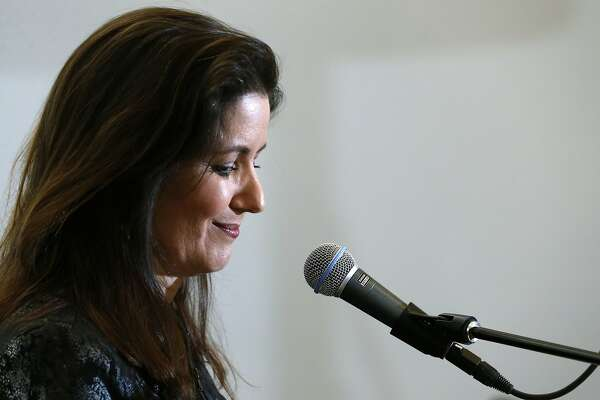 Oakland Mayor Libby Schaaf details a new football stadium plan at a news conference and rally at the Coliseum in Oakland, Calif. on Saturday, March 25, 2017, in a last ditch effort to convince NFL owners to vote down a proposal to relocate the Raiders to Las Vegas.
