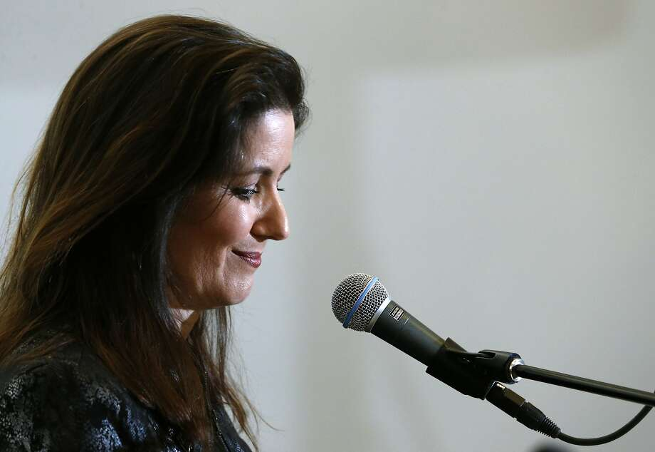 Oakland Mayor Libby Schaaf details a new football stadium plan at a news conference and rally at the Coliseum in Oakland, Calif. on Saturday, March 25, 2017, in a last ditch effort to convince NFL owners to vote down a proposal to relocate the Raiders to Las Vegas. Photo: Paul Chinn, The Chronicle