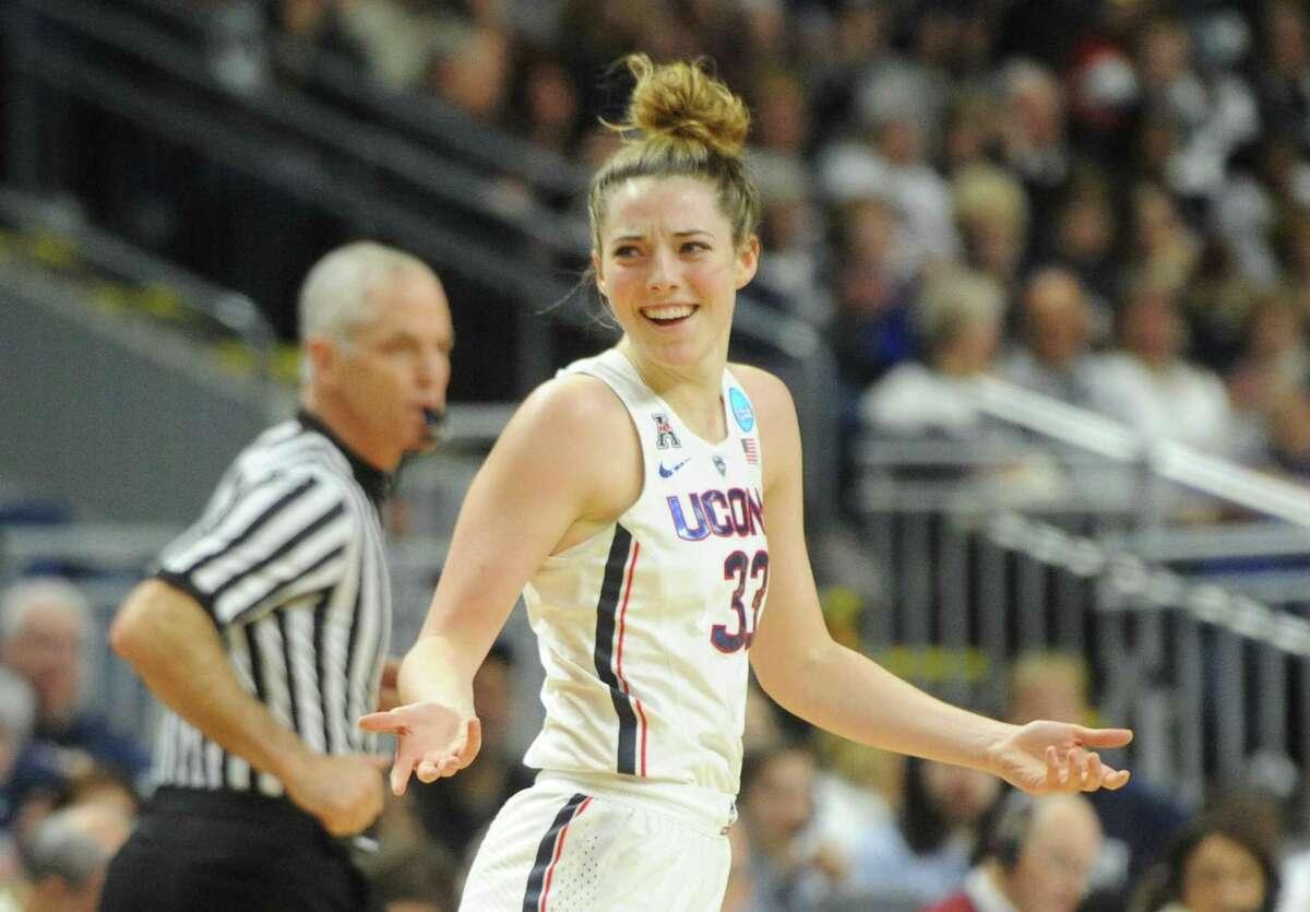 Uonn's Katie Lou Samuelson celebrates a basket against UCLA Saturday at Webster Bank Arena.