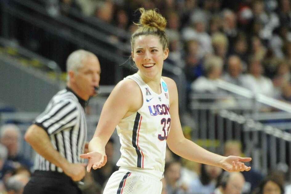 Uonn's Katie Lou Samuelson celebrates a point in the 2017 NCAA Division I Women's Basketball Championship Regional Semifinal game between No. 1 UConn and No. 4 UCLA at Webster Bank Arena in Bridgeport, Conn. Saturday, March 25, 2017.