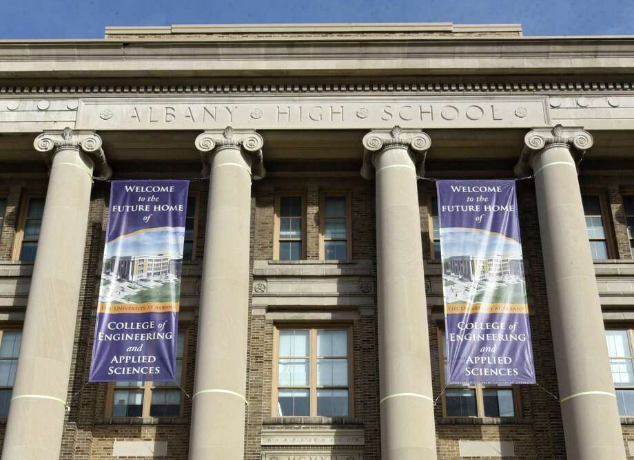 Exterior of the Schuyler Building which is the future home of the University at Albany's College of Engineering and Applied Sciences (CEAS) on Tuesday, Dec. 6, 2016 in Albany, N.Y. Originally serving as Albany High School from 1913-1972, the Schuyler Building is located at UAlbany's downtown campus. (Lori Van Buren / Times Union) Photo: Lori Van Buren / 20039064A