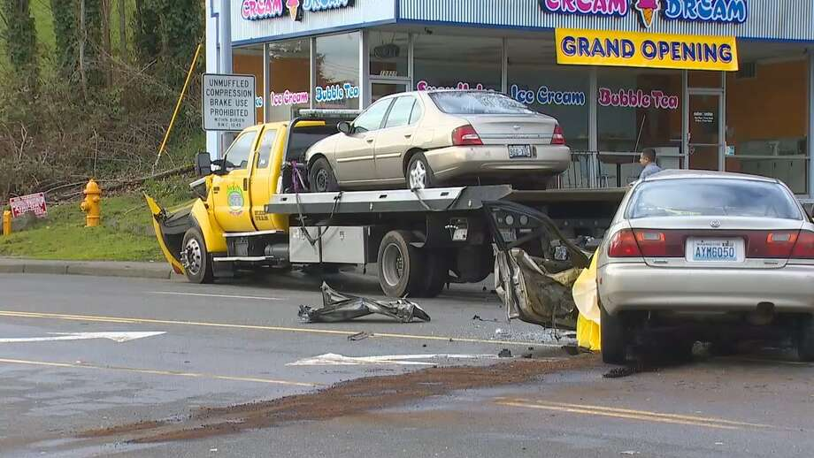 Road Closed After Car Smashes Into Tow Truck In Burien