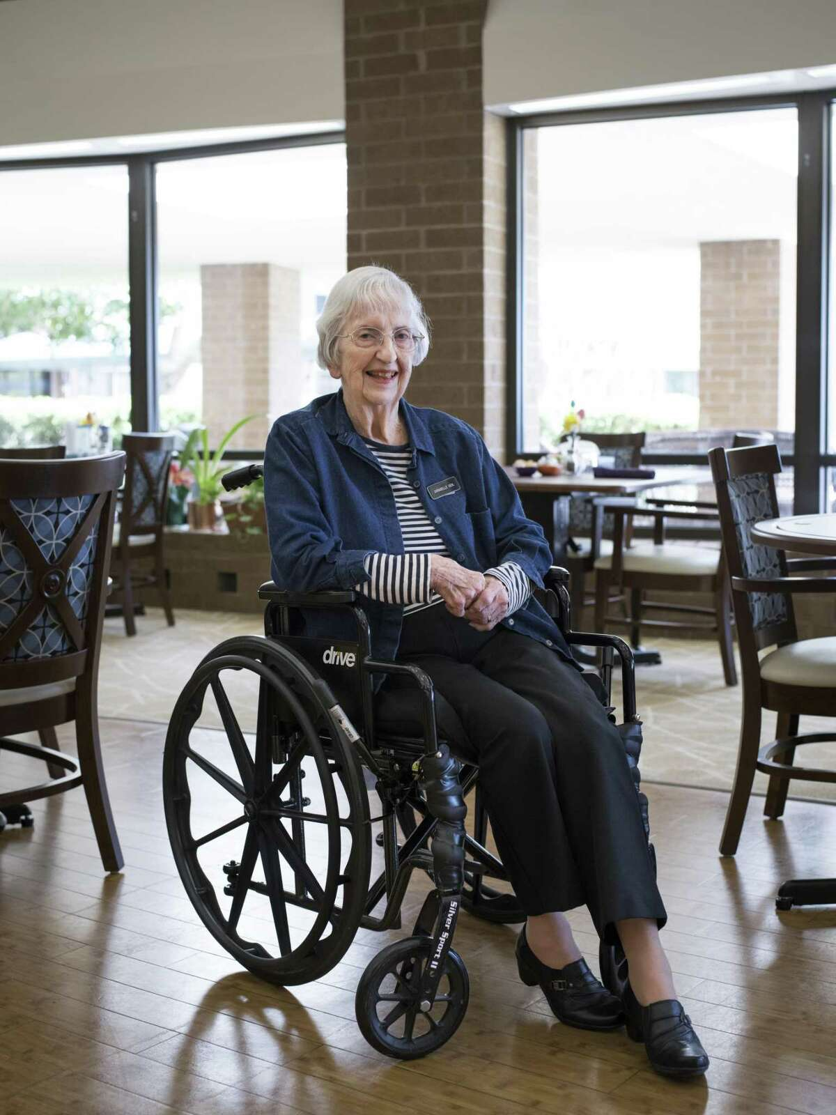 Annabelle Kehl, 94, a resident at Blue Skies of Texas since 1987, a retirement community outside of San Antonio, Texas that includes a nursing home, poses for a portrait in the dining room on Thursday, March 23, 2017. The majority of residents at Blue Skies are retired military. A proposal in the Texas legislature pushed by Sen. Juan Hinojosa, D-McAllen, would impose a fee on nursing home resident beds, including those which are private-pay. Companies such as Blue Skies of Texas would be forced to pay this fee, but are not convinced that they will be reimbursed by this new legislation.