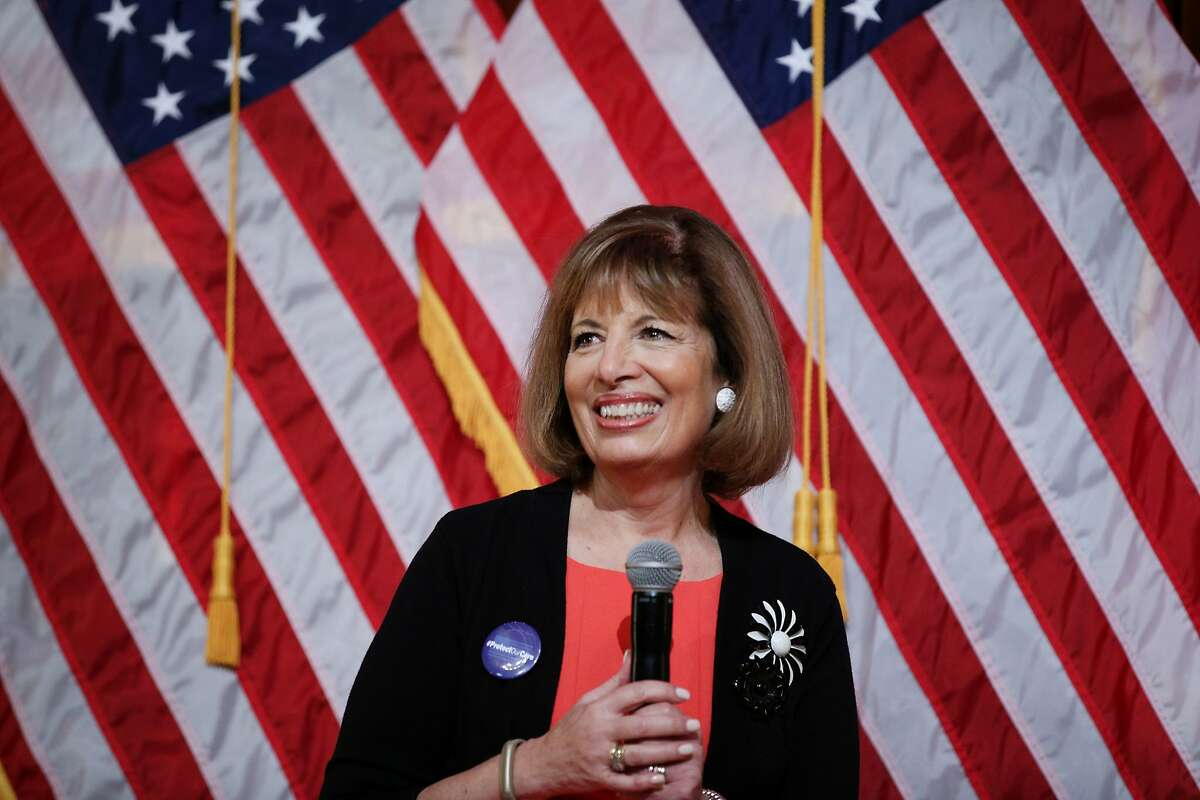 Jackie Speier during a town hall meeting at Balboa High School on Saturday, March 25, 2017, in San Francisco, Calif.