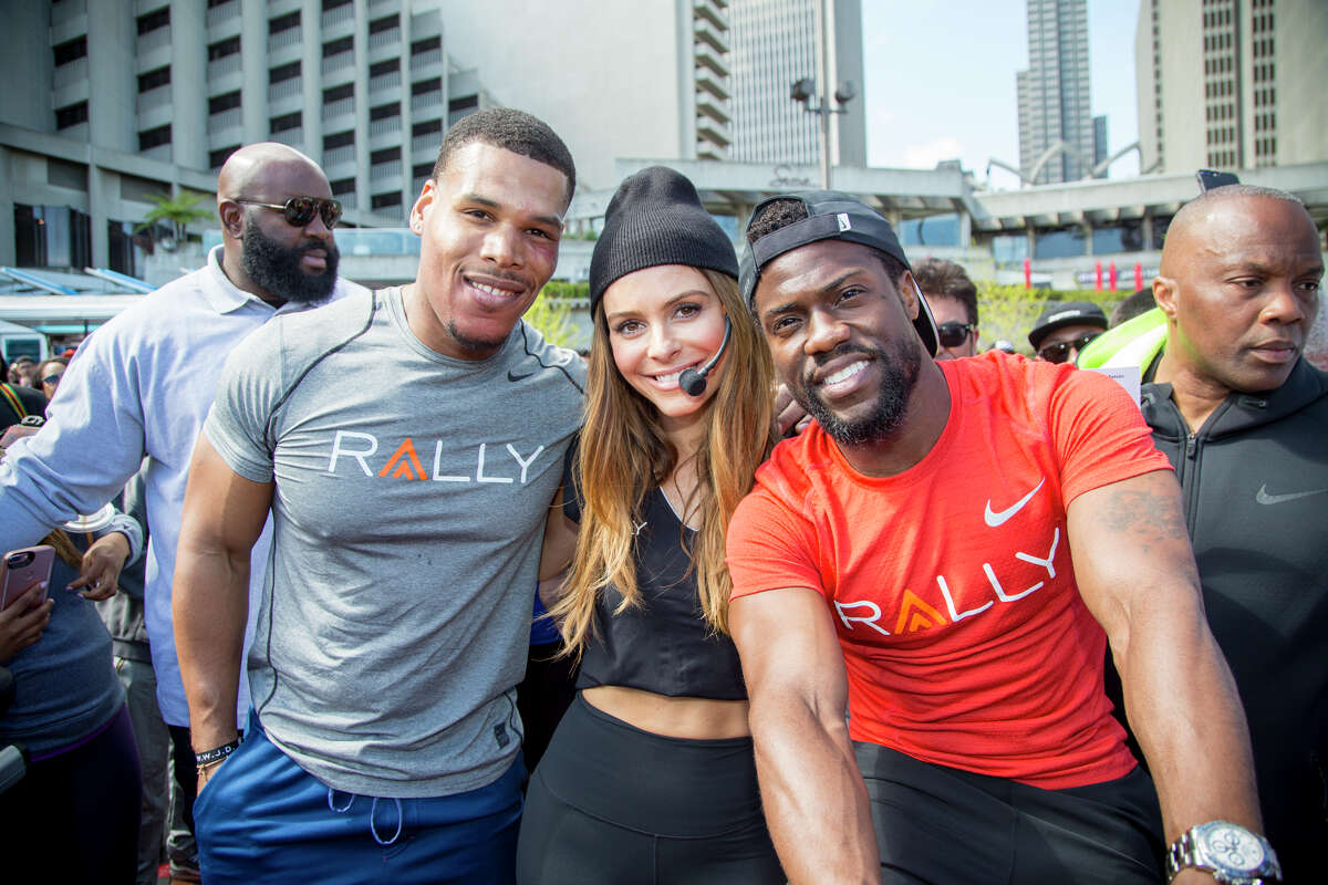 Boss Everline, Maria Menounos, and Kevin Hart at Rally HealthFest in San Francisco on Saturday, March 25.