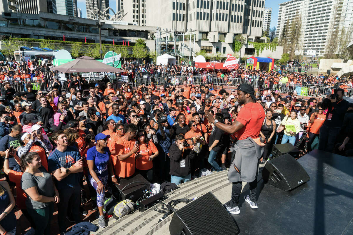 Kevin Hart plays to a crowd at Rally HealthFest in San Francisco on Saturday, March 25.