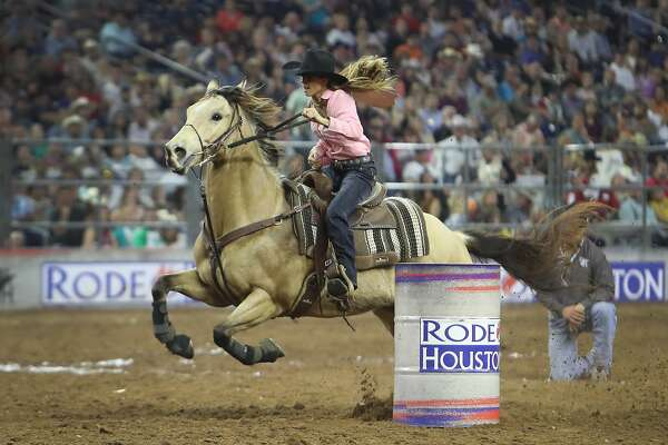 Kasie Mowry winning Barrel Racing performance during the Houston Livestock Show and Rodeo Super Series Championship in NRG Stadium Saturday, March 25, 2017, in Houston. ( Steve Gonzales  / Houston Chronicle )