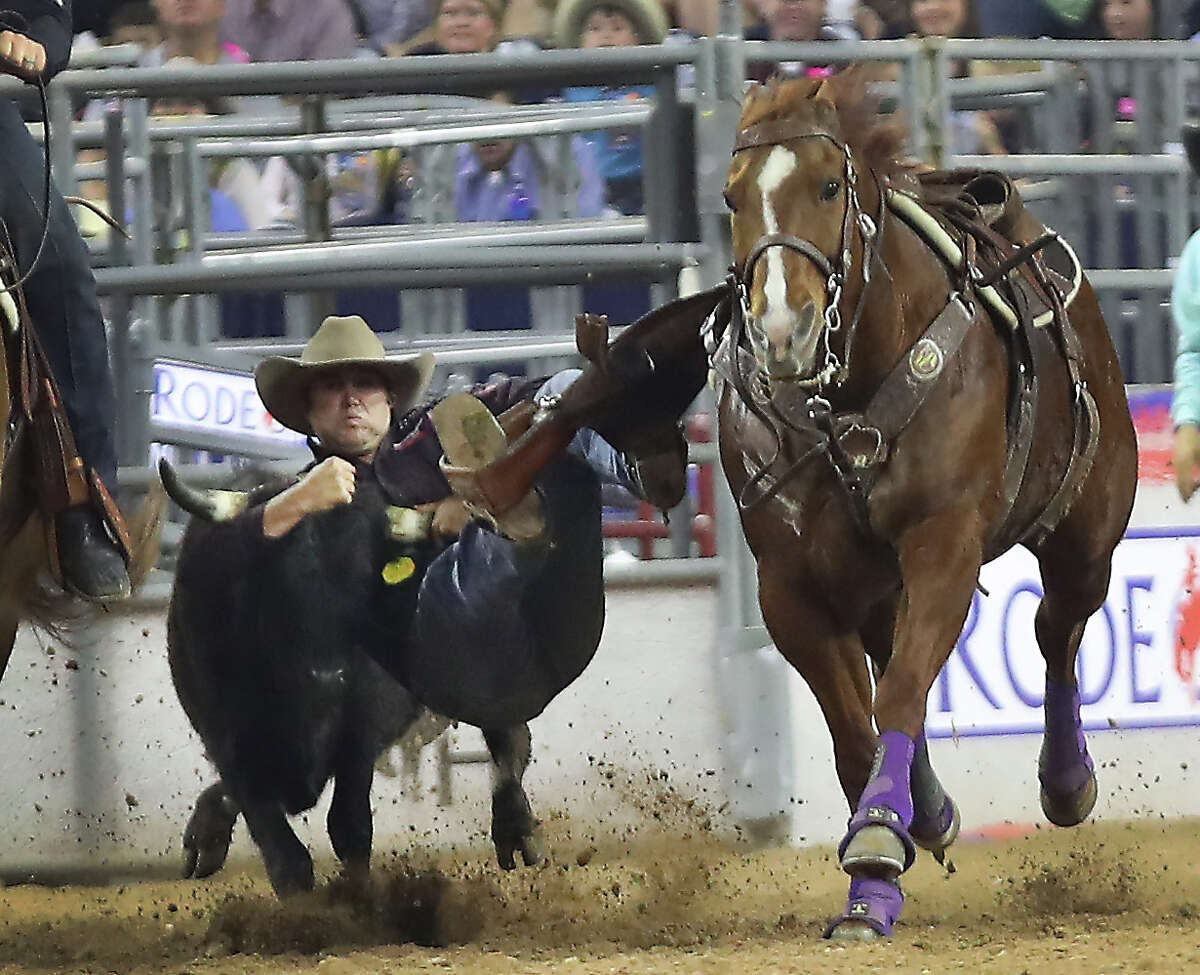 Tyler Waguespack winning Steer Wrestling performance during the Houston Livestock Show and Rodeo Super Series Championship in NRG Stadium Saturday, March 25, 2017, in Houston. ( Steve Gonzales / Houston Chronicle )