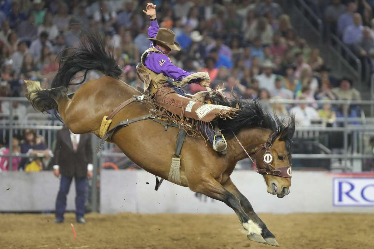 Cody Demoss winning Saddle Bronc Riding performance during the Houston Livestock Show and Rodeo Super Series Championship in NRG Stadium Saturday, March 25, 2017, in Houston. ( Steve Gonzales / Houston Chronicle )