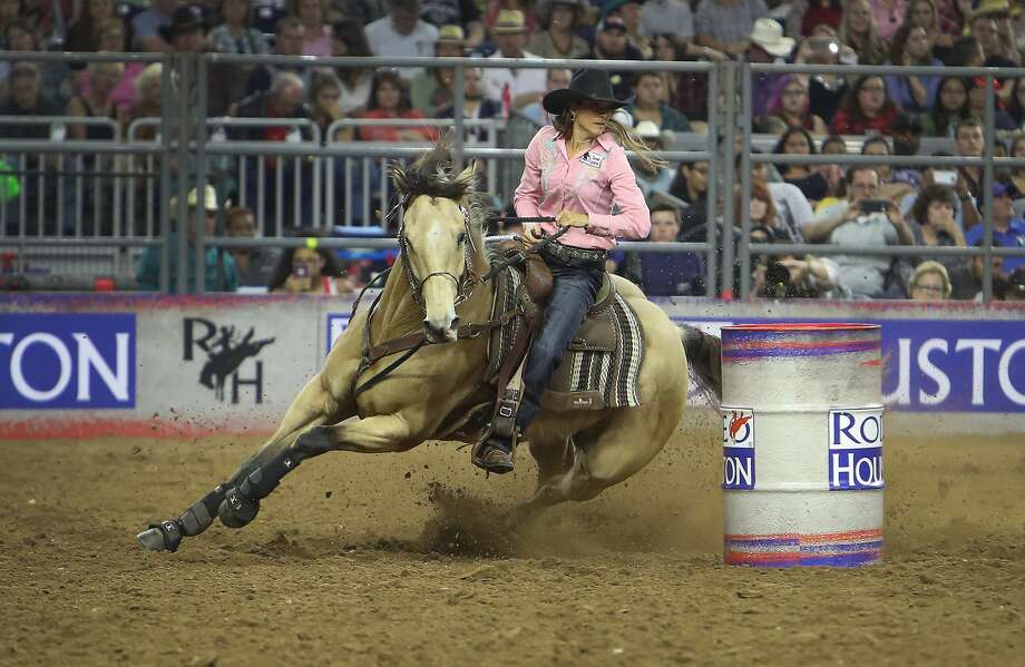 Kasie Mowry winning Barrel Racing performance during the Houston Livestock Show and Rodeo Super Series Championship in NRG Stadium Saturday, March 25, 2017, in Houston. ( Steve Gonzales  / Houston Chronicle ) Photo: Steve Gonzales/Houston Chronicle