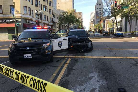 An Oakland Police Department vehicle was involved in an accident in downtown Oakland Saturday morning.