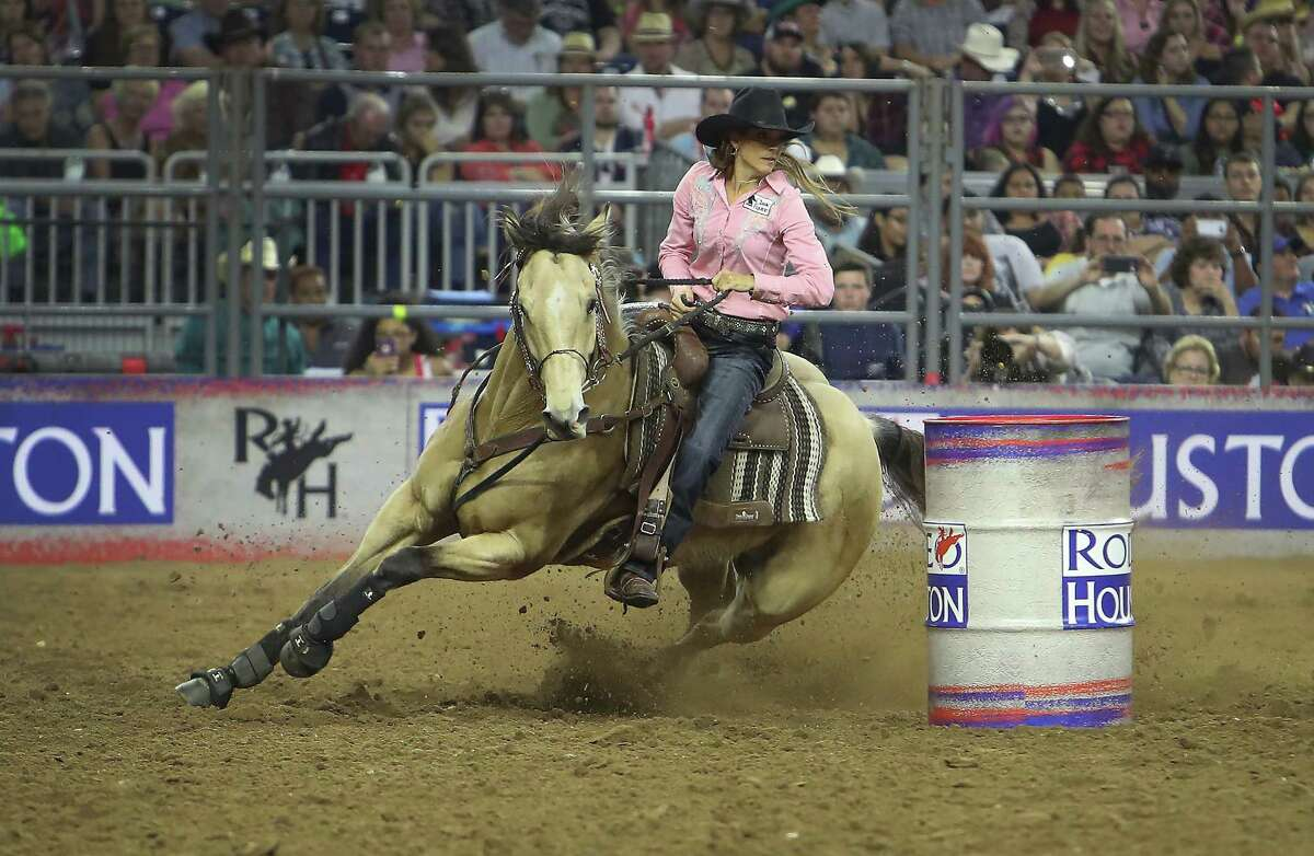 Kassie Mowry and her horse, Firewatermakesmehappy, registered a winning round of 14.06 seconds in barrel racing Saturday at NRG Stadium.