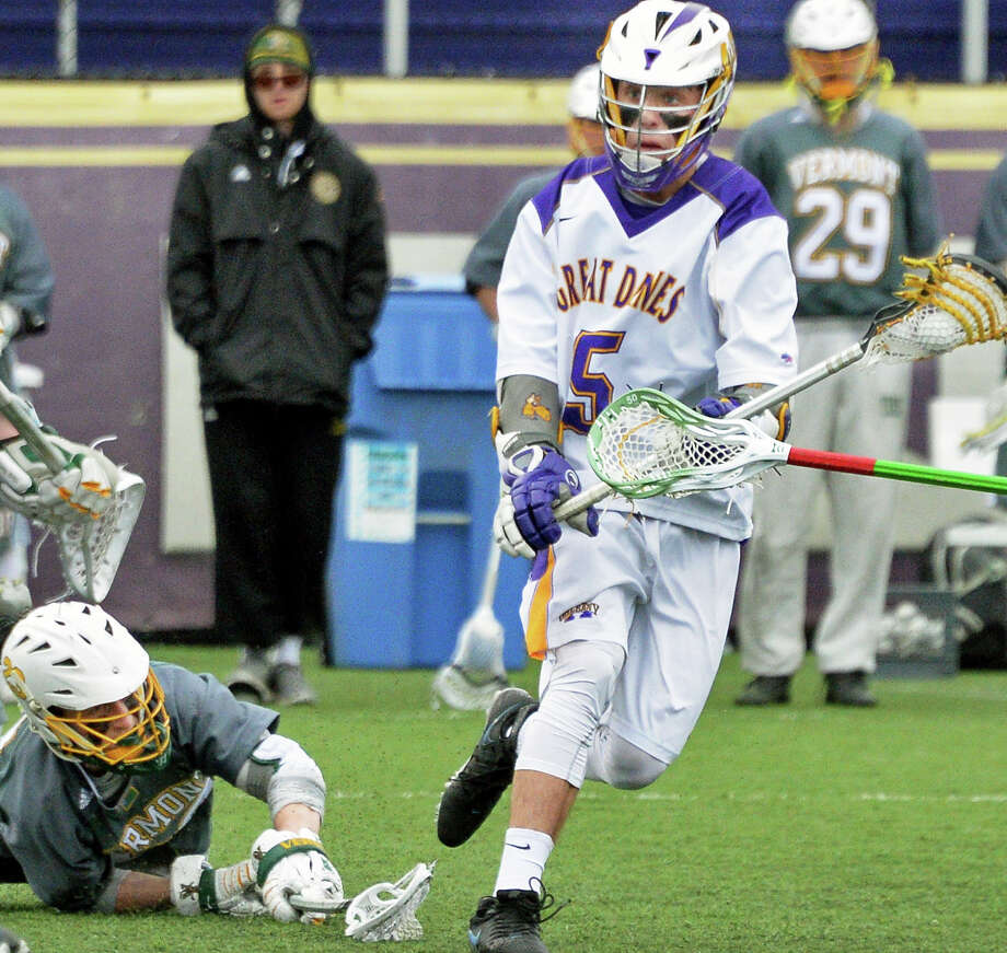 UAlbany's #5 Connor Fields, right, moves in to score during Saturday's American East match against Vermont at John Fallon Field April 9, 2016 in Albany, NY.  (John Carl D'Annibale / Times Union) Photo: John Carl D'Annibale / 10036103A