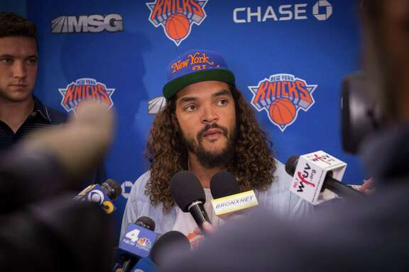 (FILES) This file photo taken on July 8, 2016 shows  New York Knicks' newest player Joakim Noah speaking with the media at Madison Square Garden training center in Tarrytown, New York. Noah will be suspended twenty games for violation of the NBA regulations on prohibited substances, several US media reported on March 25, 2017. / AFP PHOTO / Bryan R. SmithBRYAN R. SMITH/AFP/Getty Images