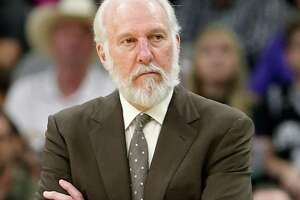 San Antonio Spurs head coach Gregg Popovich watch second half action against the New York Knicks Saturday March 25, 2017 at the AT&T Center. The Spurs won 106-98.
