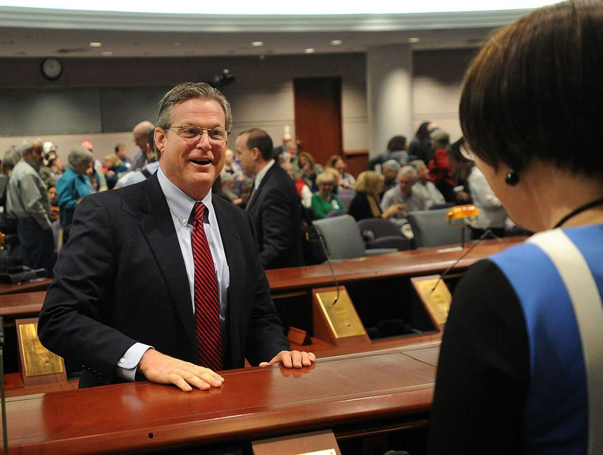Newly elected state Sen. Ted Kennedy Jr., D-Branford, chats with Rep. Pam Staneski during a public hearing of the Intellectual and Developmental Disability Committee at the Capitol in Hartford on Jan. 15, 2015. Kennedy, son of the Massachusetts Sen. Ted Kennedy and nephew of President John F. Kennedy.