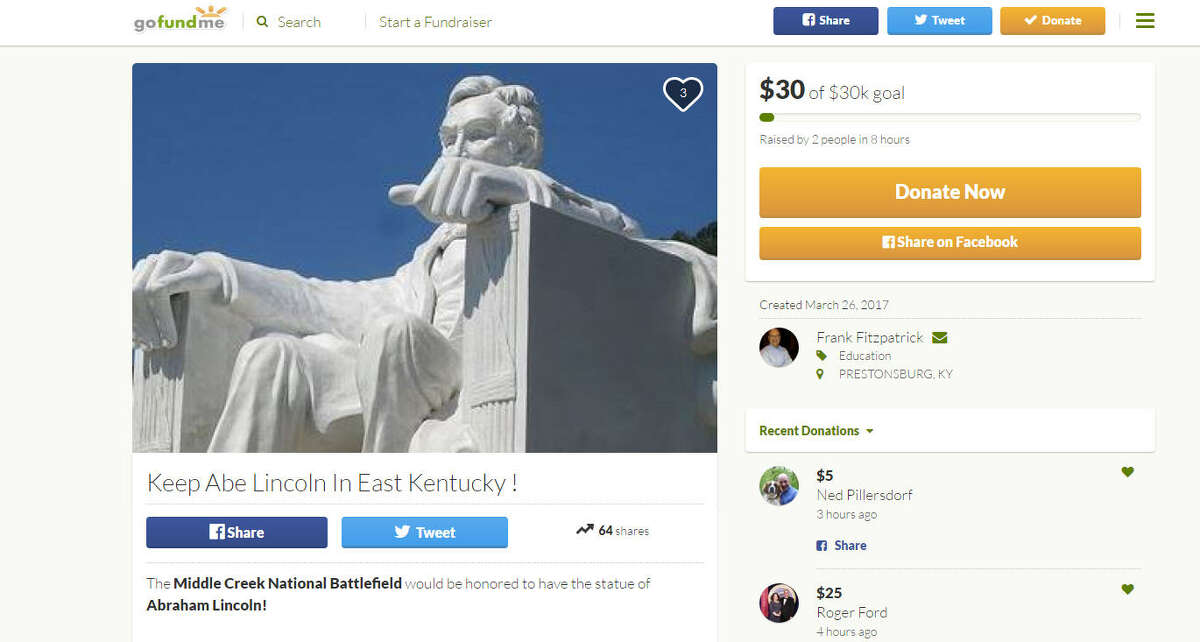 Save Abe Fans of the roadside attraction outside a disgraced Kentucky lawyer's office have started a GoFundMe account to save it. The 19-foot replica of the Lincoln Memorial has an uncertain future, but a local Civil War battlefield hopes to raise $30,000 to rescue it. >>>Scroll through the gallery to see strange attractions in Texas