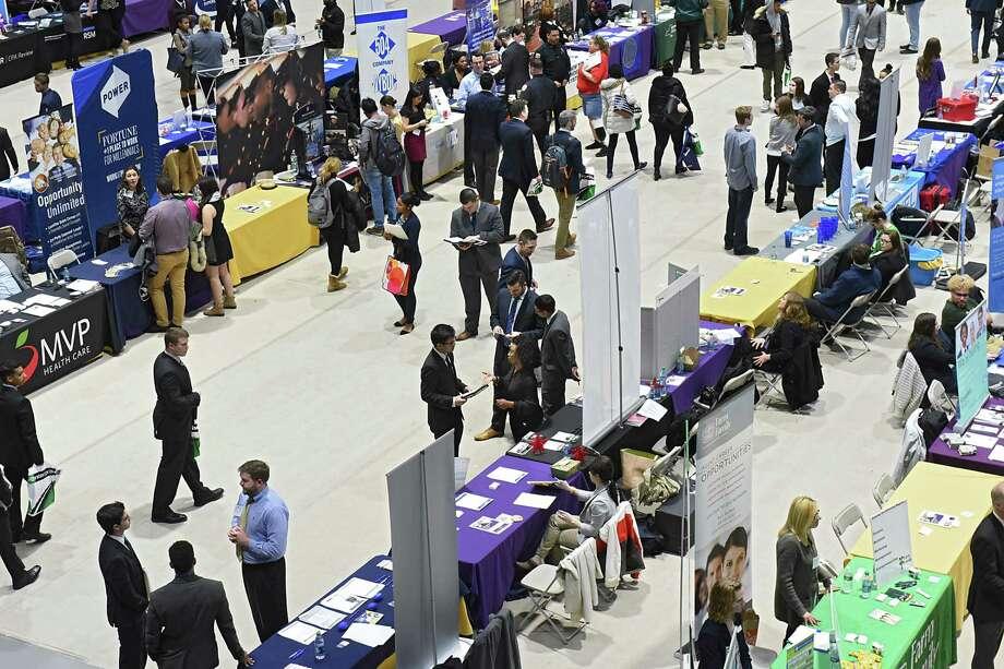 University at Albany hosts its Spring 2017 Job and Internship Fair in the SEFCU Arena on Tuesday, Feb. 21, 2017 in Albany, N.Y. (Lori Van Buren / Times Union) Photo: Lori Van Buren / 40039756A