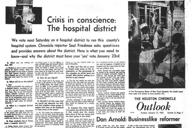 Houston Chronicle inside page - January 17, 1965 - section 3, page 7. Crisis in conscience: The hospital district.  Dan Arnold: Businesslike reformer.  James Pears: Boss with a heart