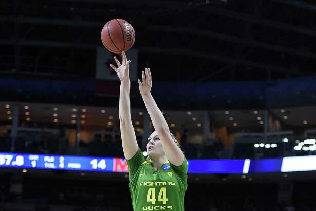 Oregon's Mallory McGwire during the first half of a regional semifinal game in the NCAA women's college basketball tournament, Saturday, March 25, 2017, in Bridgeport, Conn. (AP Photo/Jessica Hill)