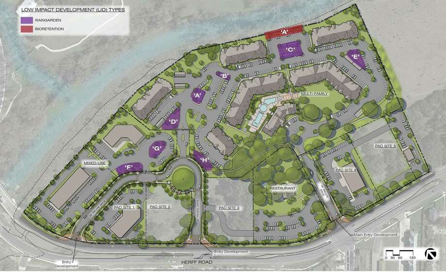 """""""Rain gardens"""" and permeable pavement were among the design elements proposed at """"17 Herff"""" in Boerne to filter storm water before it could drain into the nearby Cibolo Creek. A zoning decision by Boerne City Council has killed the project, the developers said. Photo: Courtesy /"""