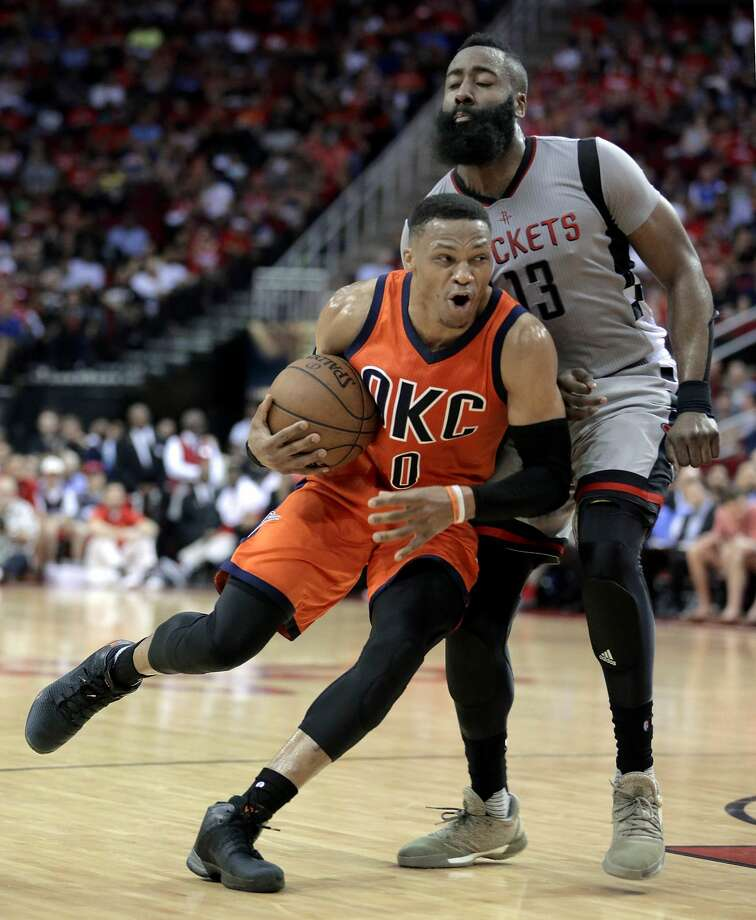 The first game between the Rockets and Thunder will be on Sunday at 8 on TNT. Photo: Michael Wyke/Associated Press