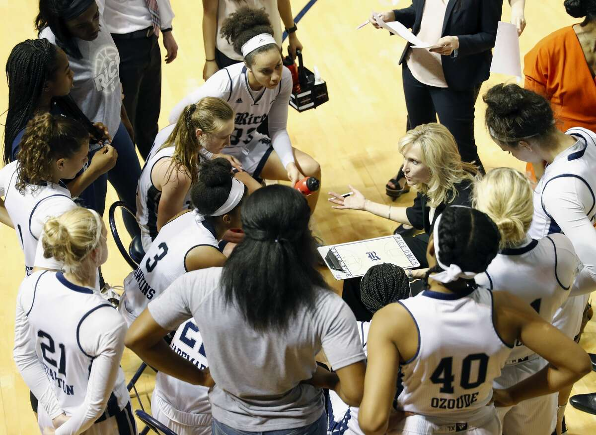 PHOTOS: NCAA Women's Tournament Rice Owls head coach Tina Langley draws up a play during a timeout in the second half during the Women's Basketball Invitational Championship Game between the UNC-Greensboro Spartans and the Rice Owls at Tudor Field House in Houston, TX on Sunday, March 26, 2017. >>>Look back at photos from Rice's game against Marquette in the NCAA Tournament ...