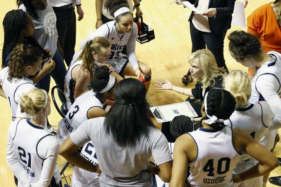 Rice Owls head coach Tina Langley draws up a play during a timeout in the second half during the Women's Basketball Invitational Championship Game between the UNC-Greensboro Spartans and the Rice Owls at Tudor Field House in Houston, TX on Sunday, March 26, 2017.