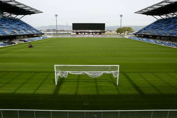 A groundskeeper manicures the grass on the San Jose Earthquakes'  newly completed Avaya Stadium on Monday, March 16, 2015. The new state of the art soccer stadium officially opens on Sunday March 22.