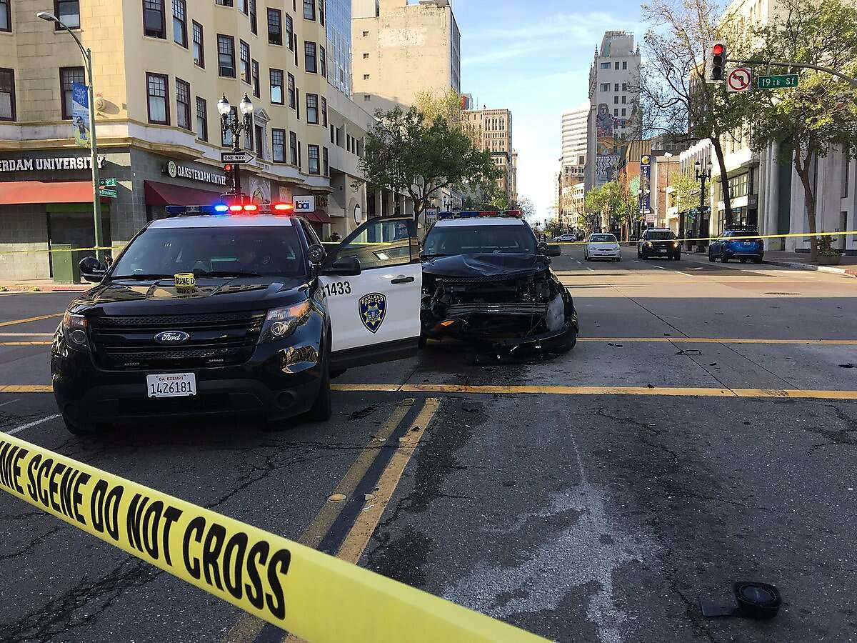 An Oakland Police Department SUV hit a motorcyclist on Saturday.