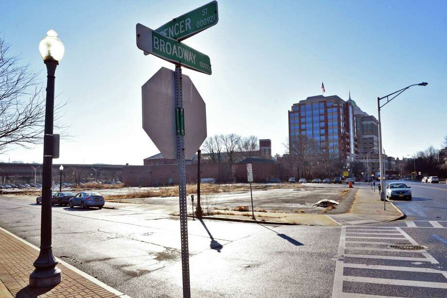 Corner of Spencer Street an Broadway, site of proposed development in the Quackenbush Square area, Wednesday Jan. 11, 2017 in Albany, NY.  (John Carl D'Annibale / Times Union) Photo: John Carl D'Annibale / 20039410A