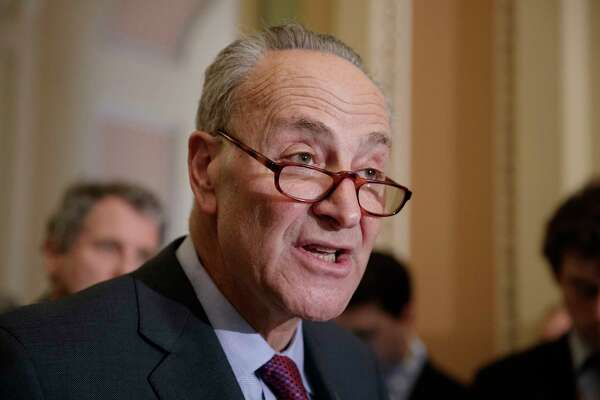 Senate Minority Leader Chuck Schumer of N.Y. speaks with reporters about his opposition to Supreme Court nominee Neil Gorsuch, Tuesday, March 21, 2107, on Capitol Hill in Washington. (AP Photo/J. Scott Applewhite) ORG XMIT: DCSA128