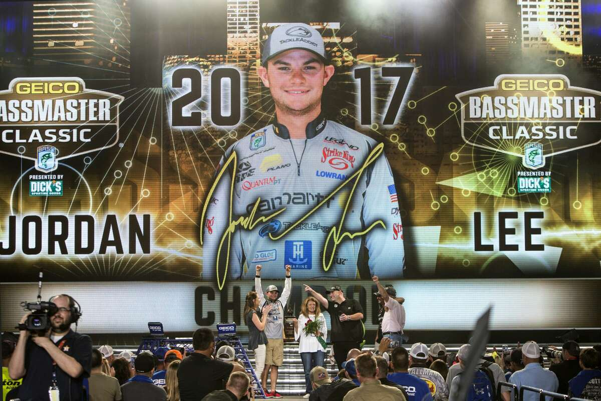 Jordan Lee celebrates winning the Geico Bassmaster Classic following the final weigh-in at Minute Maid Park on Sunday, March 26, 2017, in Houston. ( Brett Coomer / Houston Chronicle )